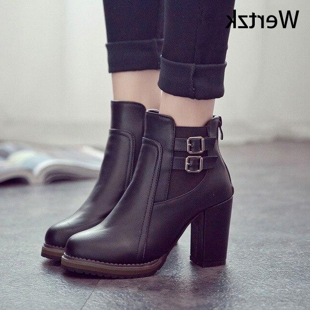 Square Zapatos Size Autumn and Button High Shoe Fashion L237