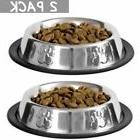 2 X Stainless Steel NO TIP/SKID Small Dog Cat Pet Food Water