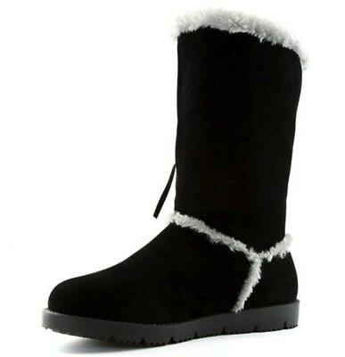 DailyShoes Swan Fringe Sherpa Moccasin Snow Mid Calf
