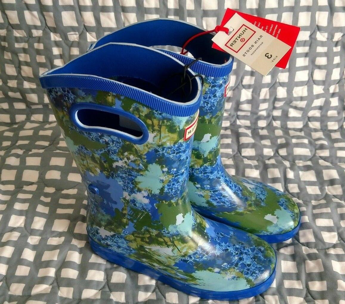 Hunter for Target Tall Rain BOOTS Blue Abstract Kids Boys Si