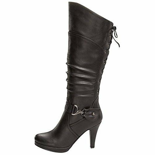 """Top Moda Women's Knee Lace-up High 4"""" Heel Boots Black Size"""