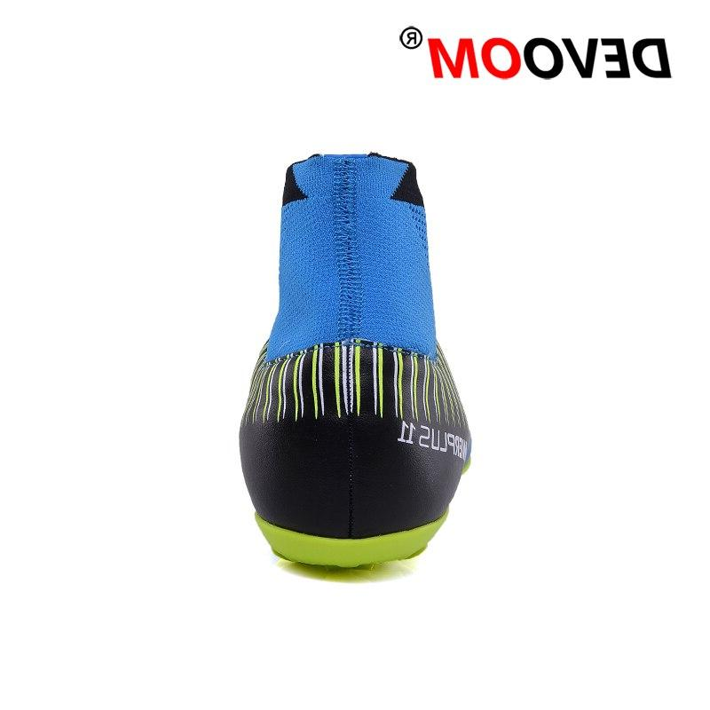Turf Indoor Black Men Soccer Football <font><b>Boots</b></font> High Ankle Man Sneakers Cleats