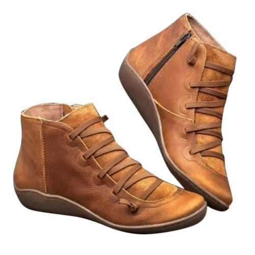 US Women Boots Ankle Boots Ladies Flat Shoes