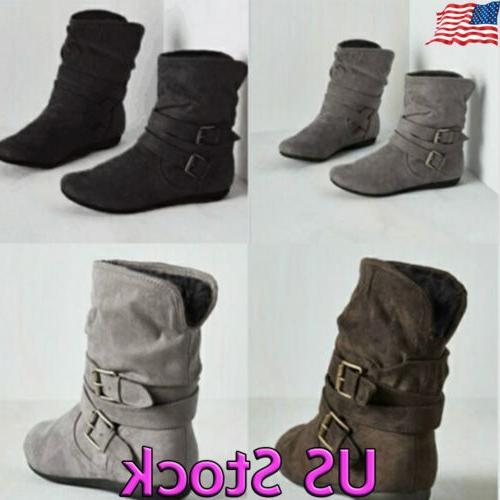 US Womens Winter Warm Ankle Boots Ladies Fur Snow Buckle Fla