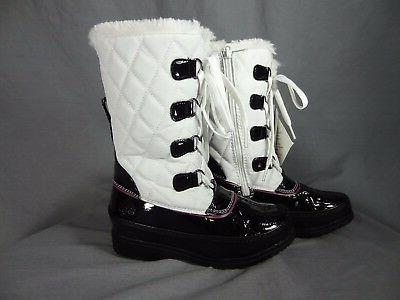 Totes white/black Winter Boots for kids Zip up on side size