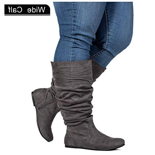 wide calf slouchy knee high boots grey