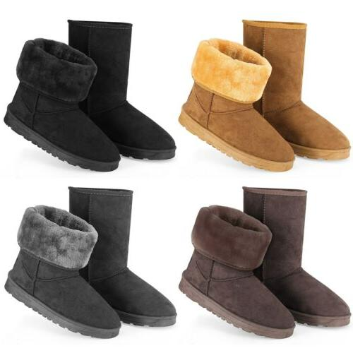 Women Winter Warm Boots Faux Fur Suede Mid-Calf  Snow Fashio