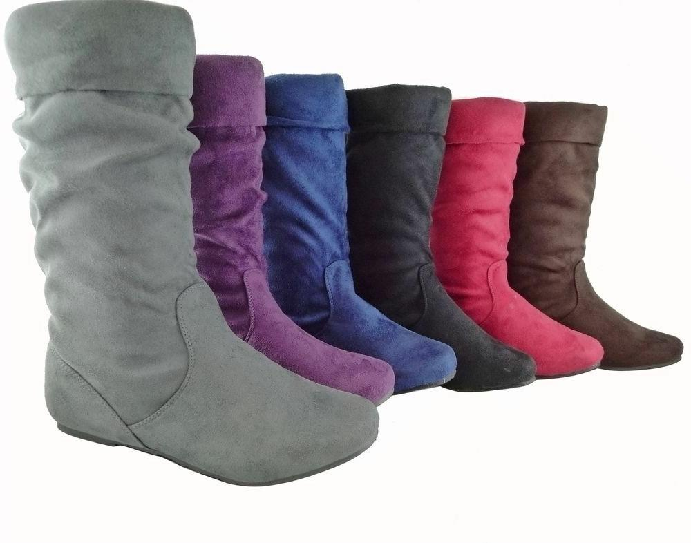 women boots slouch faux suede comfortable folding