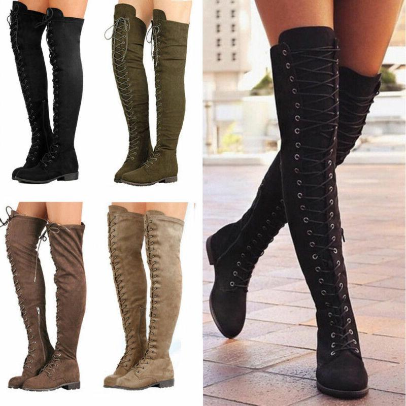 Women Ladies Mid The Knee Calf Boots