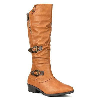 DREAM New PU Low Heel High Riding Boots