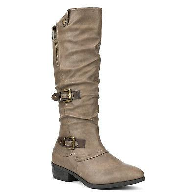 DREAM PAIRS New Winter Low Heel Riding Boots
