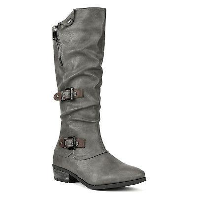 DREAM PAIRS PARKAR New Leather Winter Low Knee High Riding Boots