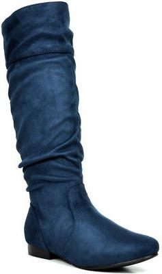 DREAM PAIRS BLVD-W Flat Pull On Fall Weather High Boots Wide Calf