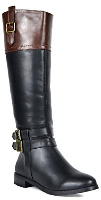 TOETOS Women's Diane Black Brown Knee High Winter Riding Boo