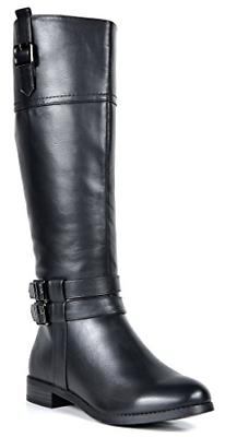 TOETOS Women's Diane Black Knee High Winter Riding Boots Wid