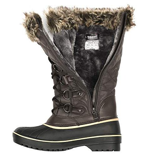 DREAM Brown Faux Mid Calf Winter Snow Boots