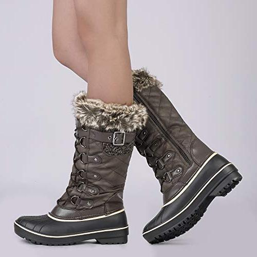 DREAM PAIRS Brown Mid Calf Winter Boots Size US