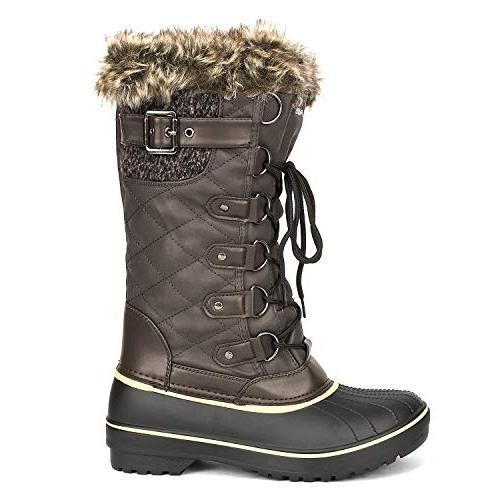 DREAM PAIRS Women's DP-Avalanche Brown Fur Lined Boots 7 US