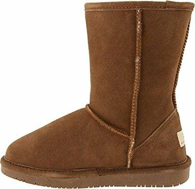 Bearpaw Women's Hickory/Champagne Short Fur Lined Warm Snow Boot
