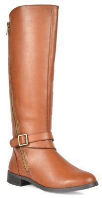 TOETOS Women's Fashion Flats zipper Knee High Riding Boots