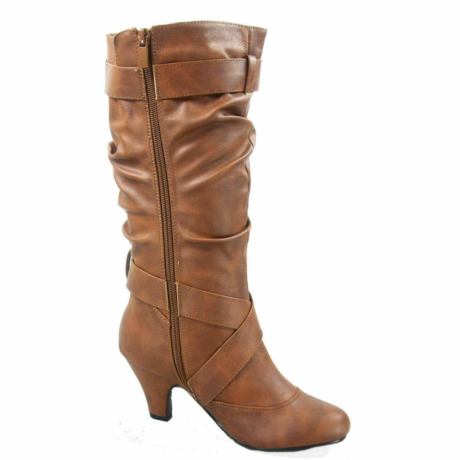 Women's Fashion Low Heel Zipper Slouchy Mid-Calf Boots Shoes All - NEW