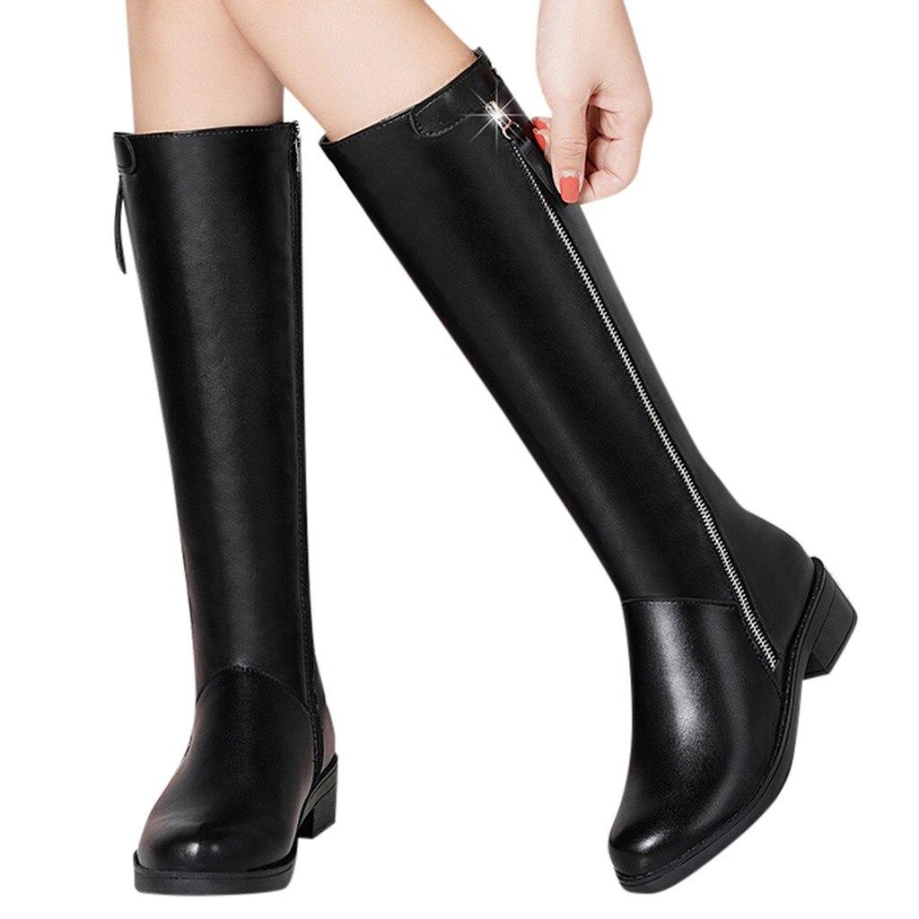 Women's Tube Shoes Side <font><b>Boots</b></font> Square Long Booties Dropshipping discount man style