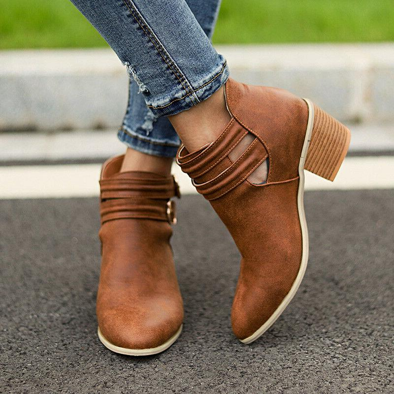 Womens Low Heel Ankle Boots Chunky Casual Booties Shoes Size