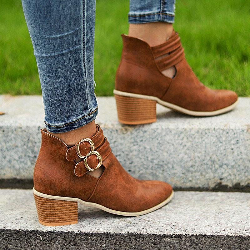 Womens Heel Boots Chunky Casual Shoes 6-10.5