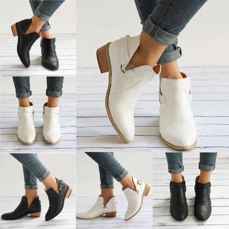 Womens Low Block Heel Boots Chunky Casual 6-10.5