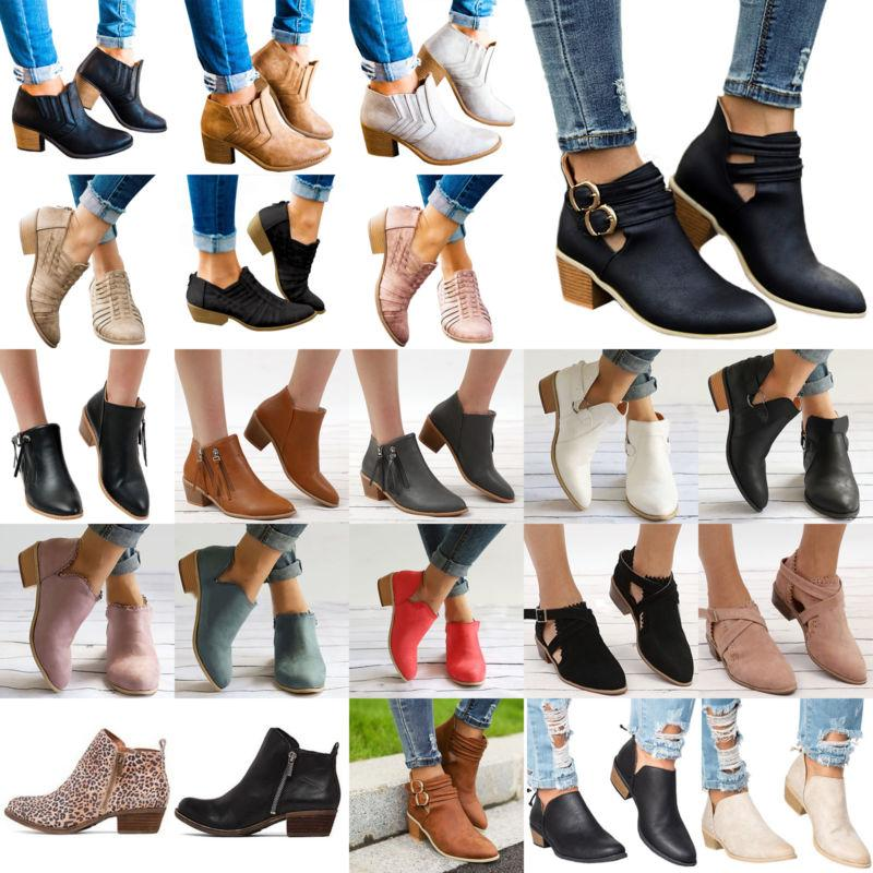 womens low mid block heel ankle boots
