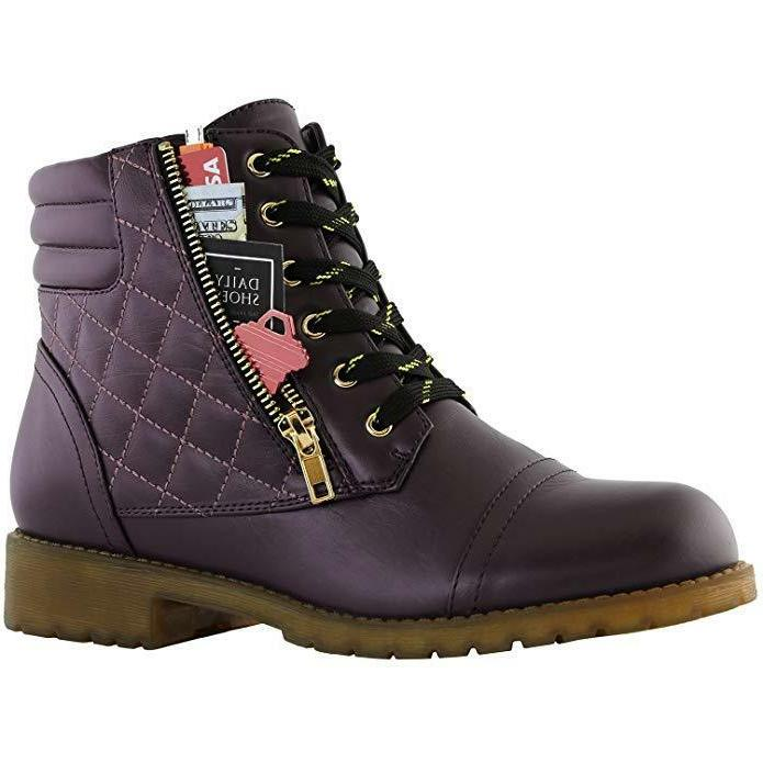 DailyShoes Women's Military Combat Boots Quilted Hiking Lace