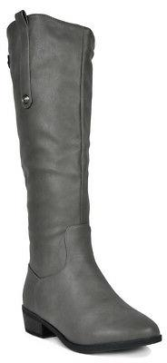 DREAM PAIRS Women's Faux Leather Side zipper Knee High Ridin