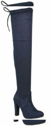Forever Link Women's Stacked Chunky Heel Stretch Thigh High