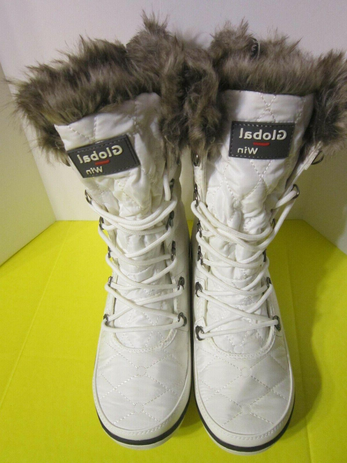 Global Fur Cuff Lace Up Boots Size 9.5