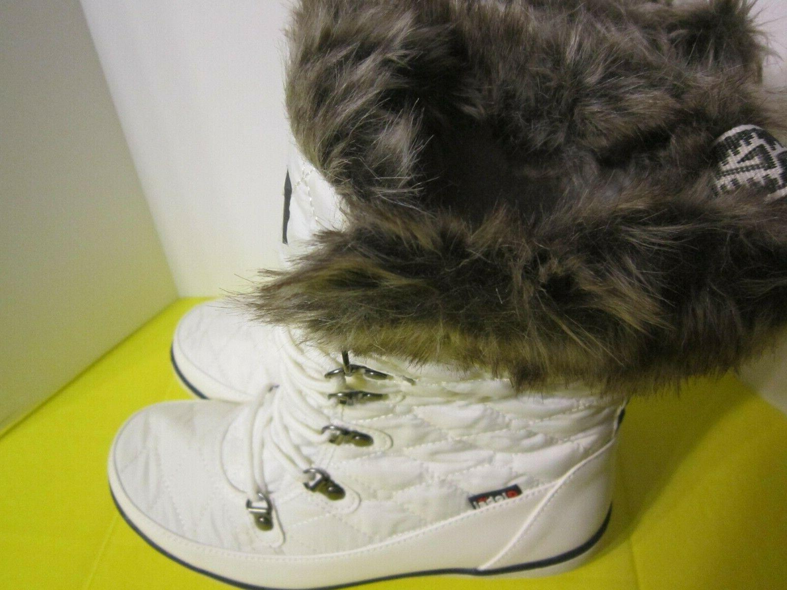 Global Win Women's Fur Cuff Quilted Up Snow Size 9.5