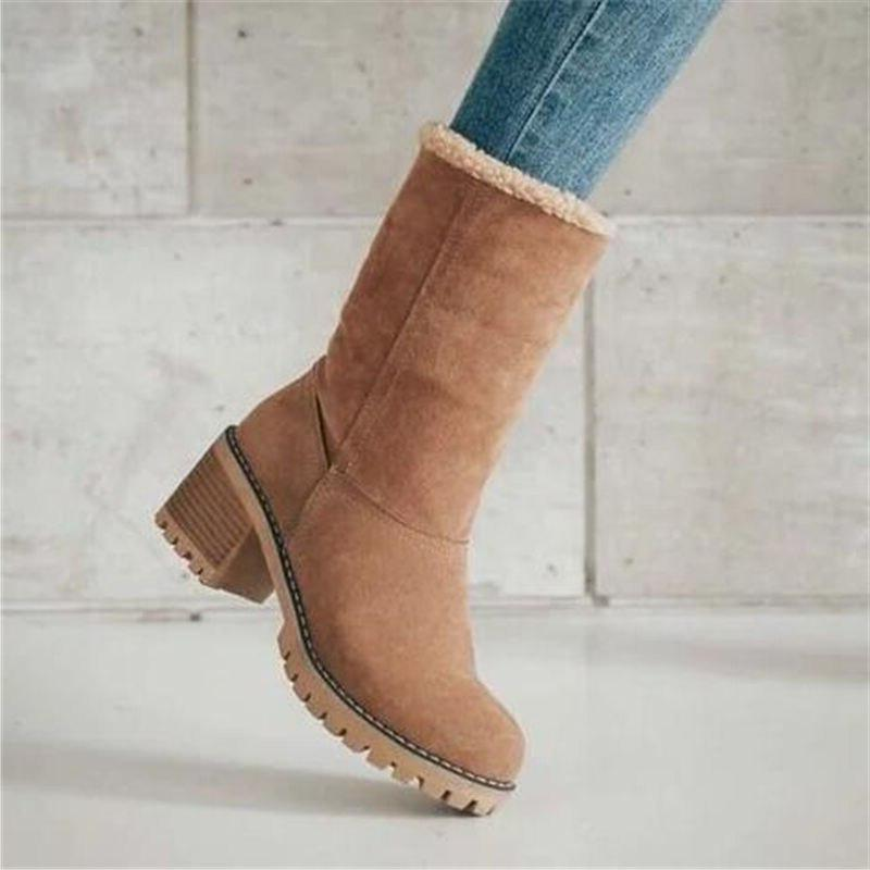 Women Fur Snow Ladies Warm wool Ankle <font><b>Boot</b></font> Comfortable Shoes plus 35-43 Mid <font><b>Boots</b></font>