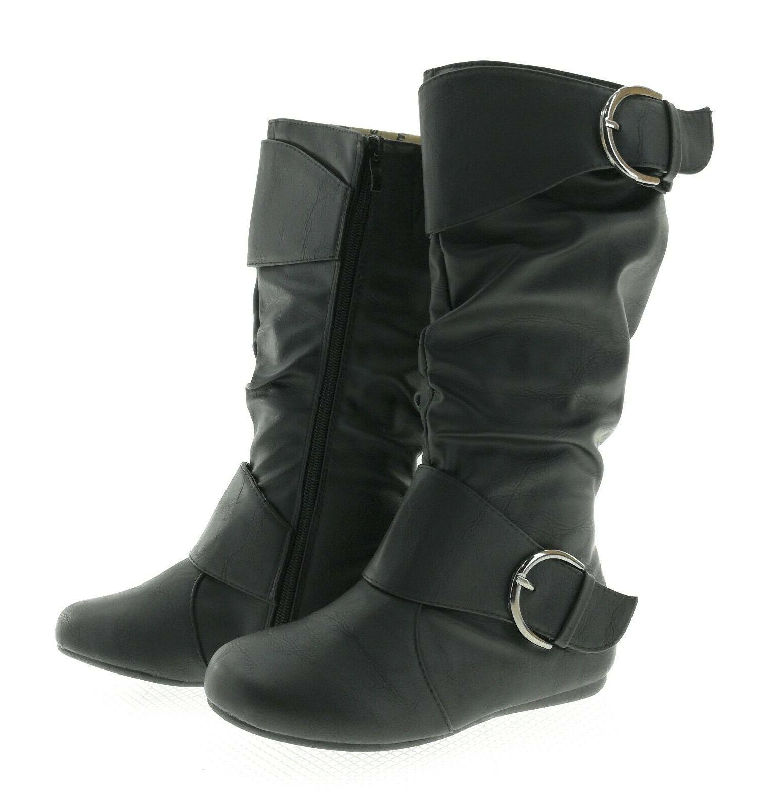 Forever Womens Black Boots Casual Winter Flat Side Zipper