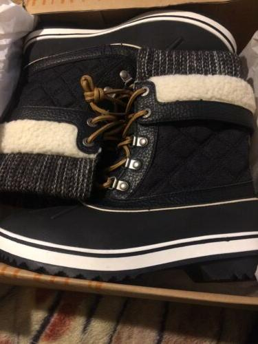 womens black snow boots size 8 5