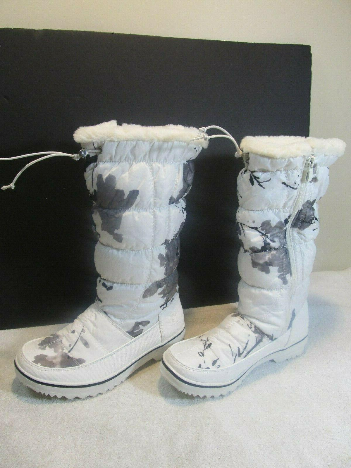 womens globalwin tall white snow boots new