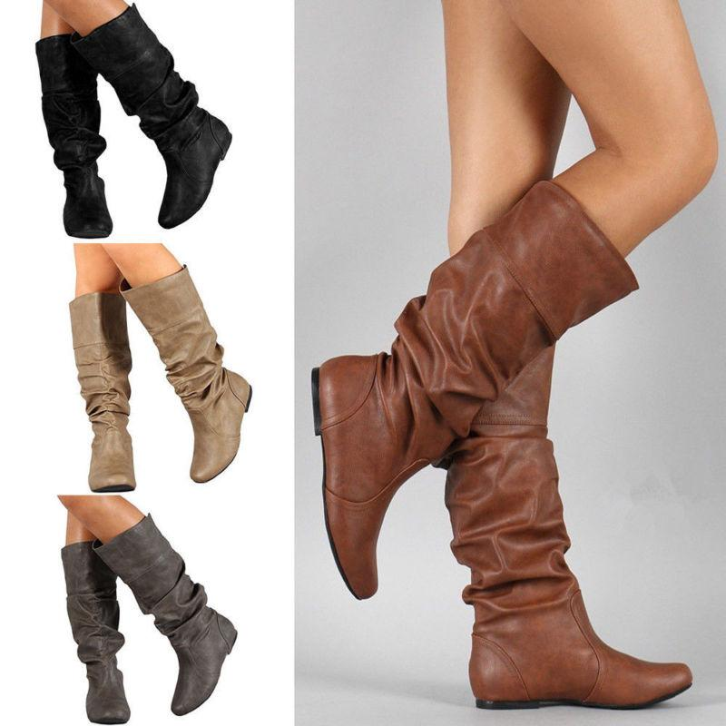 Womens Casual Slouch Plain Mid Calf Boots Knee High Round To