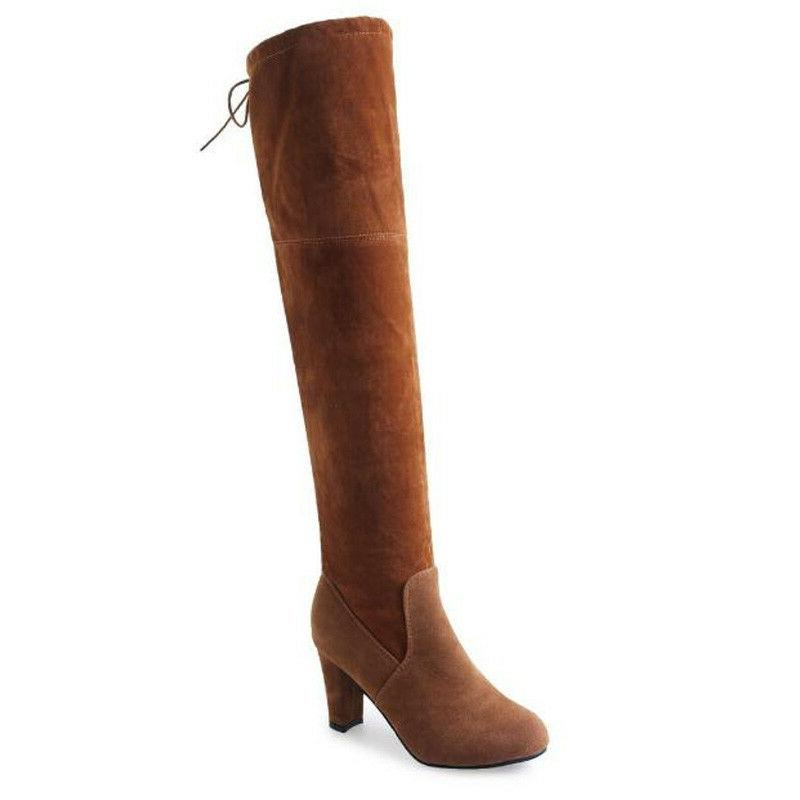 Womens Ladies Thigh High Boots Over The Knee Party Heel