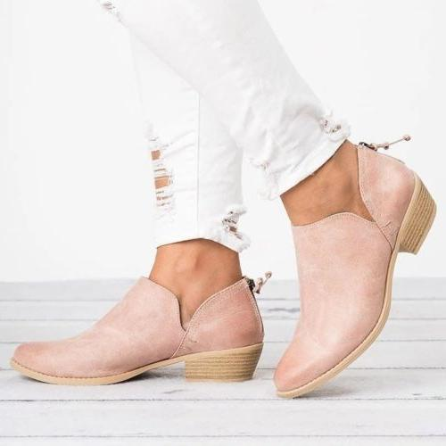 Womens Low Flat Ankle Zip Booties Size 6-10.5