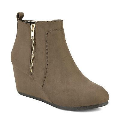 DREAM PAIRS Wedge Boots Round Toe Suede Winter Warm