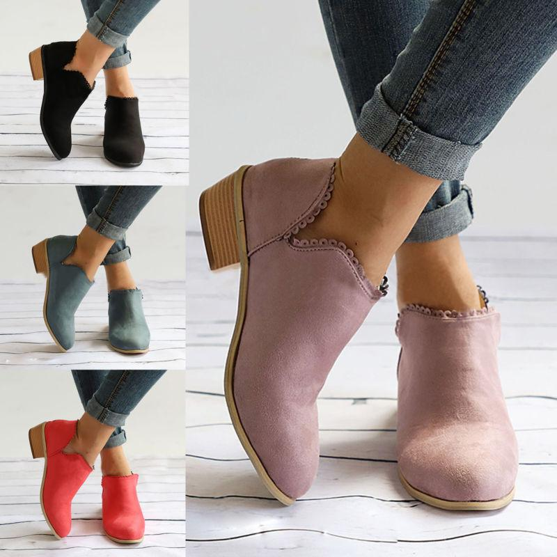 Heel Ankle Boots Chunky Casual 6-10.5