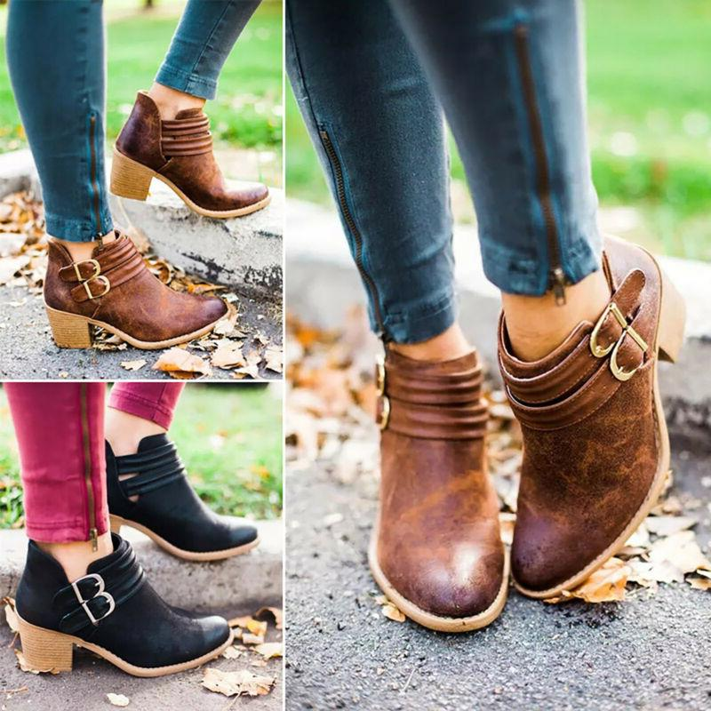 Womens Low Block Heel Ankle Casual Shoes 6-10.5