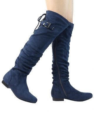 DREAM PAIRS Womens Over Knee Thigh Suede Heel Boots Choose Size