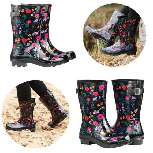 womens rubber rain boots floral printed adjustable