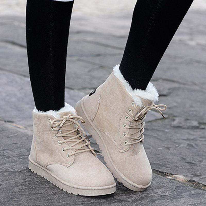 Womens Winter Warm Casual Faux Suede Fur Lace-up Ankle Boots