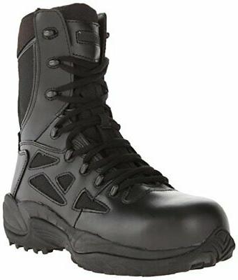 "Reebok Men's Stealth 8"" Lace-Up Side-Zip Work Boot Composite"