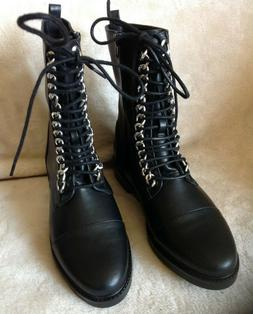 Forever 21 Lace Up Combat Boots Black Faux Leather & Chains